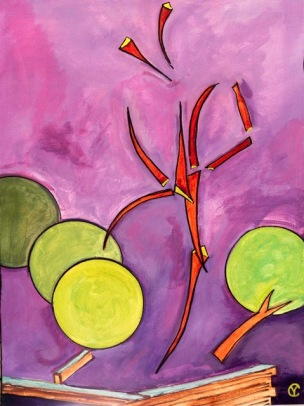 "371 Blasted Tree (1). 18"" X 24"" Acrylic on Canvas by Yvonne Callaway."