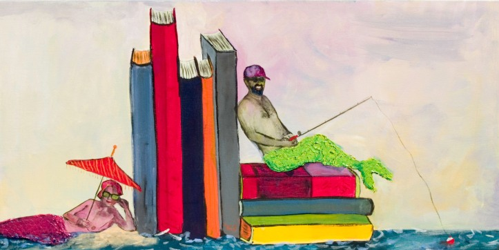 "287 Book Island.  18"" X 36"" Acrylic on Canvas  by Yvonne Callaway Smith."