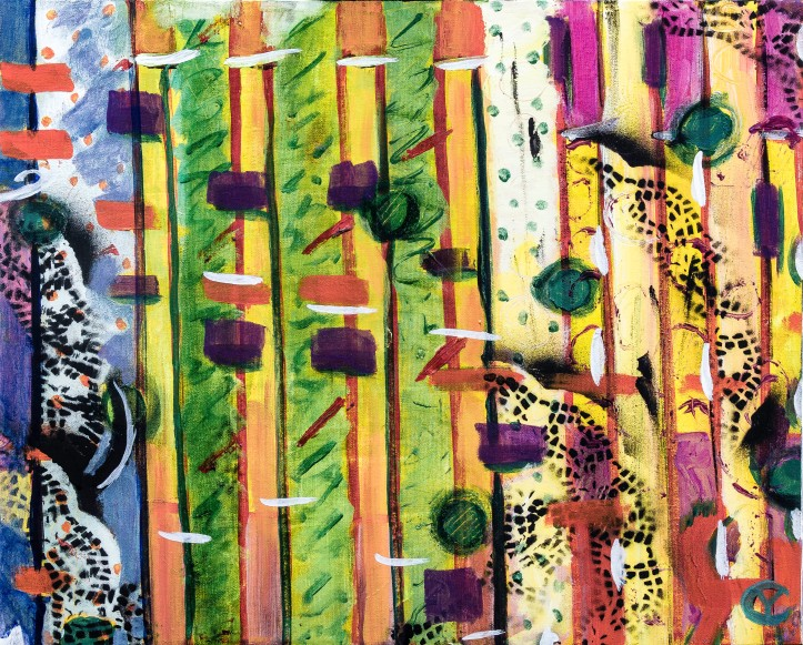 """378 Trading Fours.   16"""" X 20"""" Acrylic on Canvas by Yvonne Callaway."""