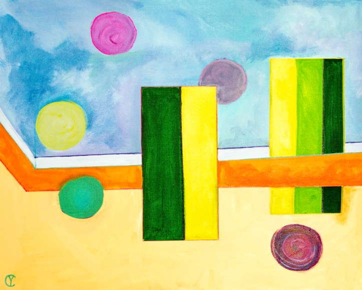 "381 Dot Dot III.  24"" X 30"" Acrylic on Canvas by Yvonne Callaway."